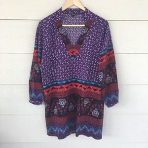 NLW Blue and Red Indie Boho Patterned Tunic